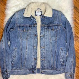 Oversize fur denim jacket
